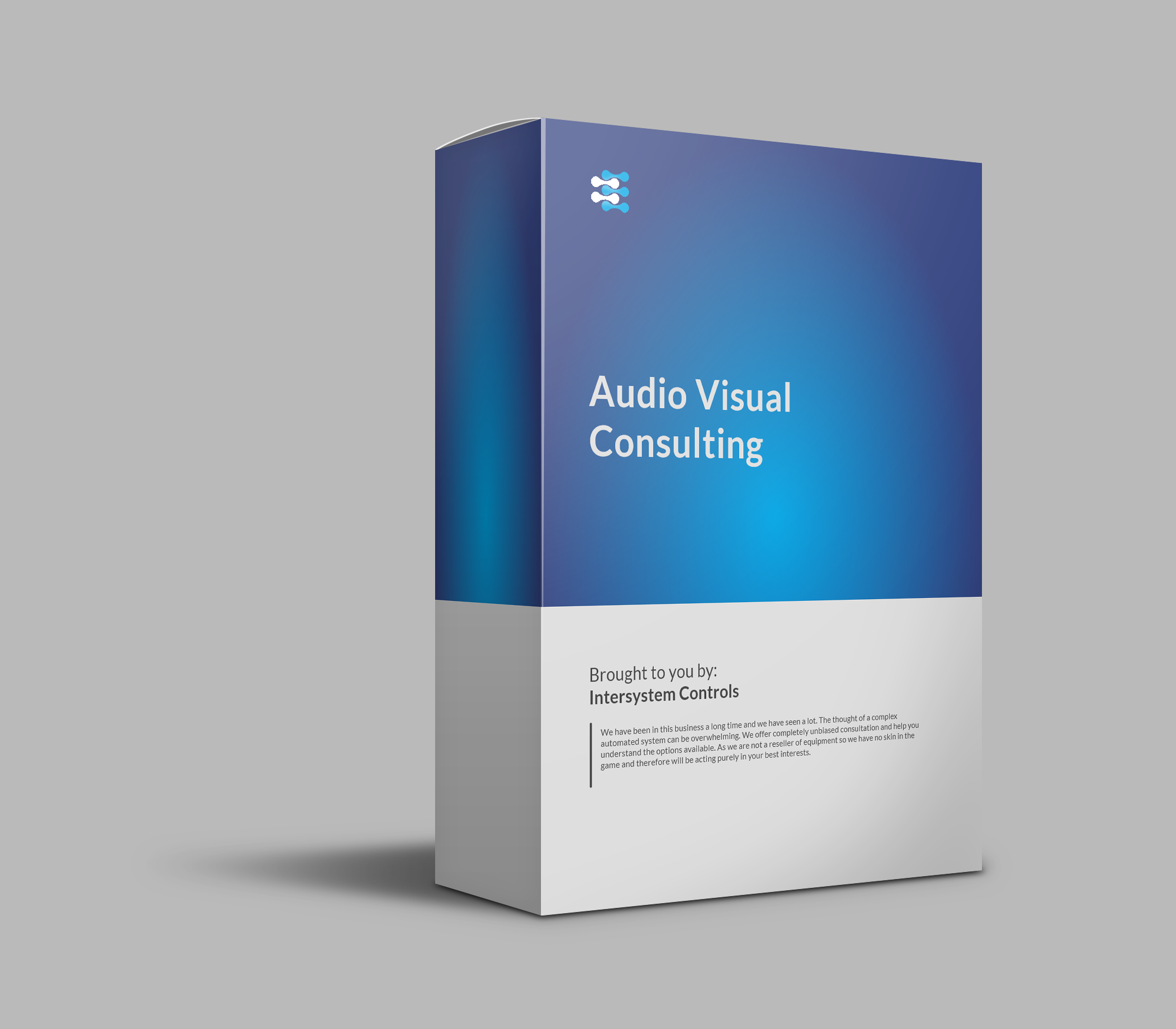 A product image of a white and blue box for audio visual consulting services.