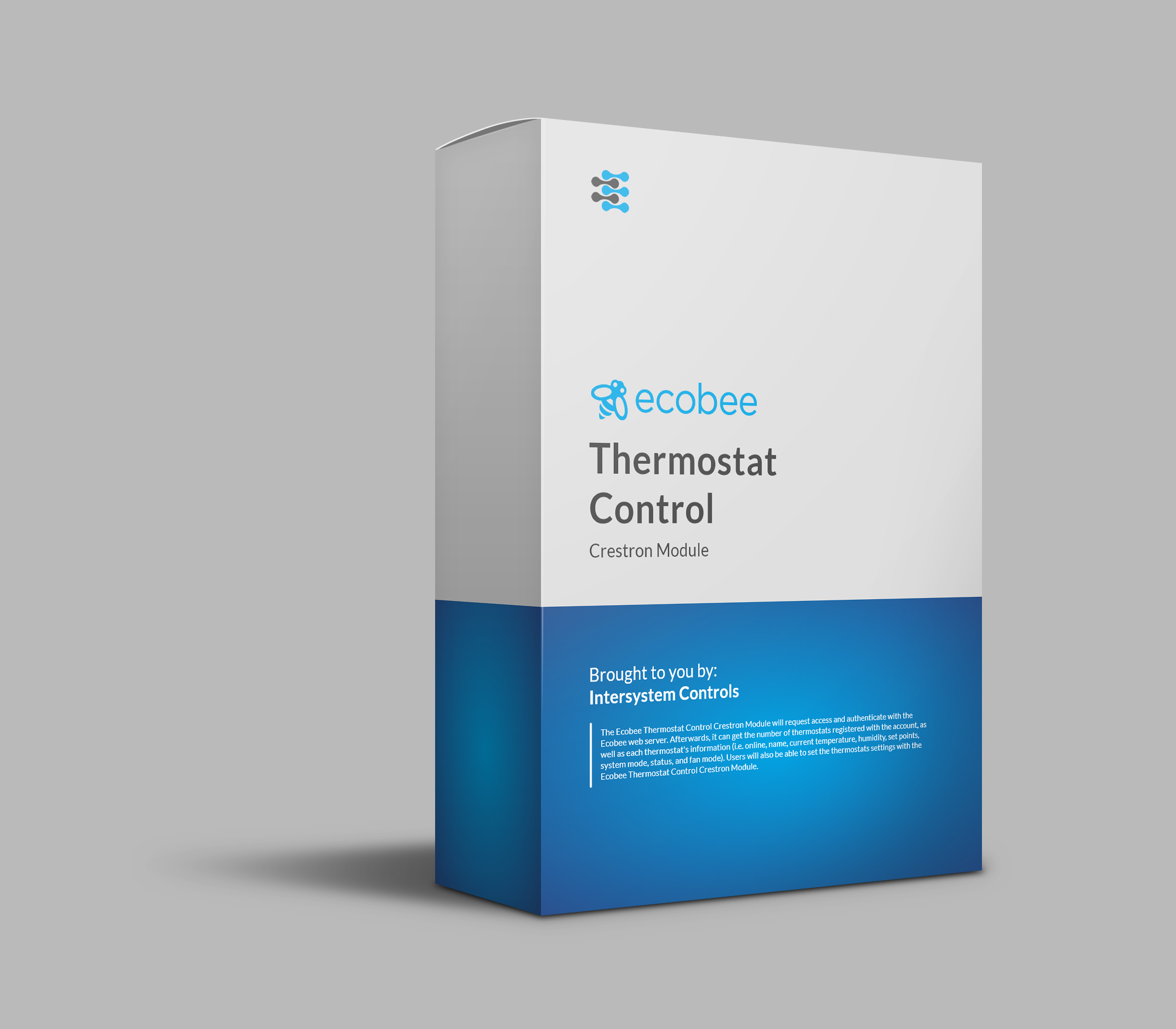 A product image of a white and blue box for the Ecobee Thermostat Crestron Control Module.